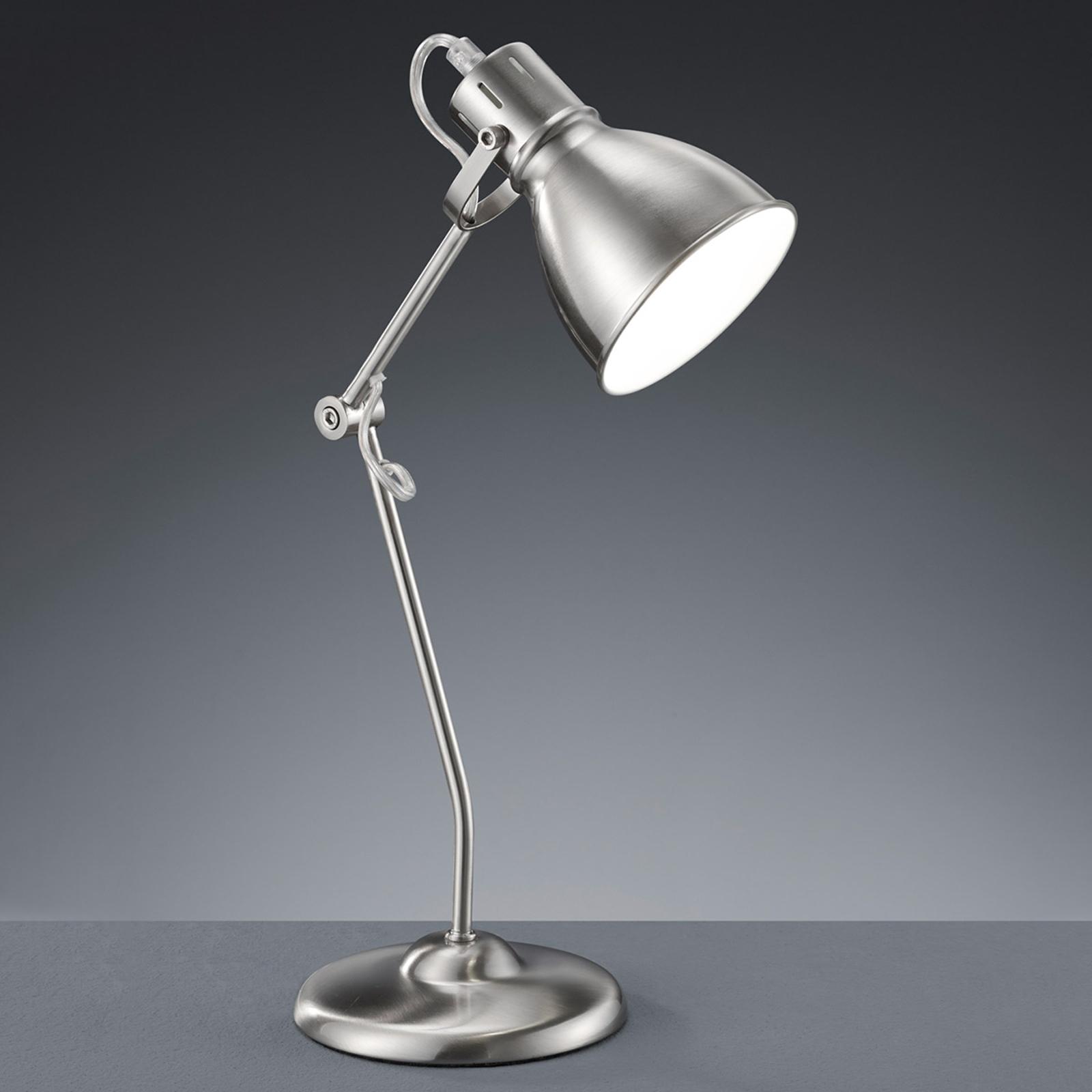 Lampe à poser Keali nickel mat, hauteur ajustable