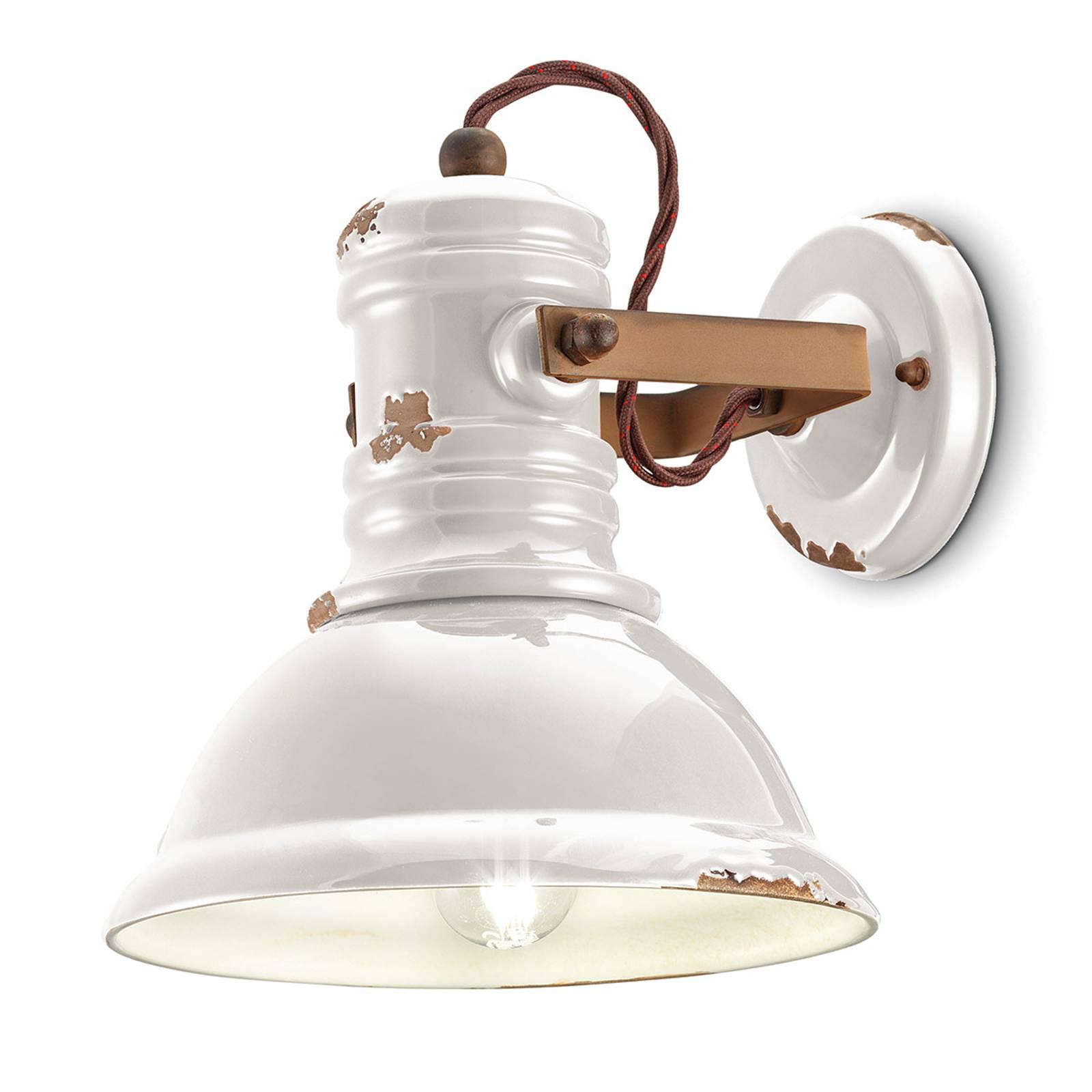 Keramieken wandlamp C1693 industriële stijl wit