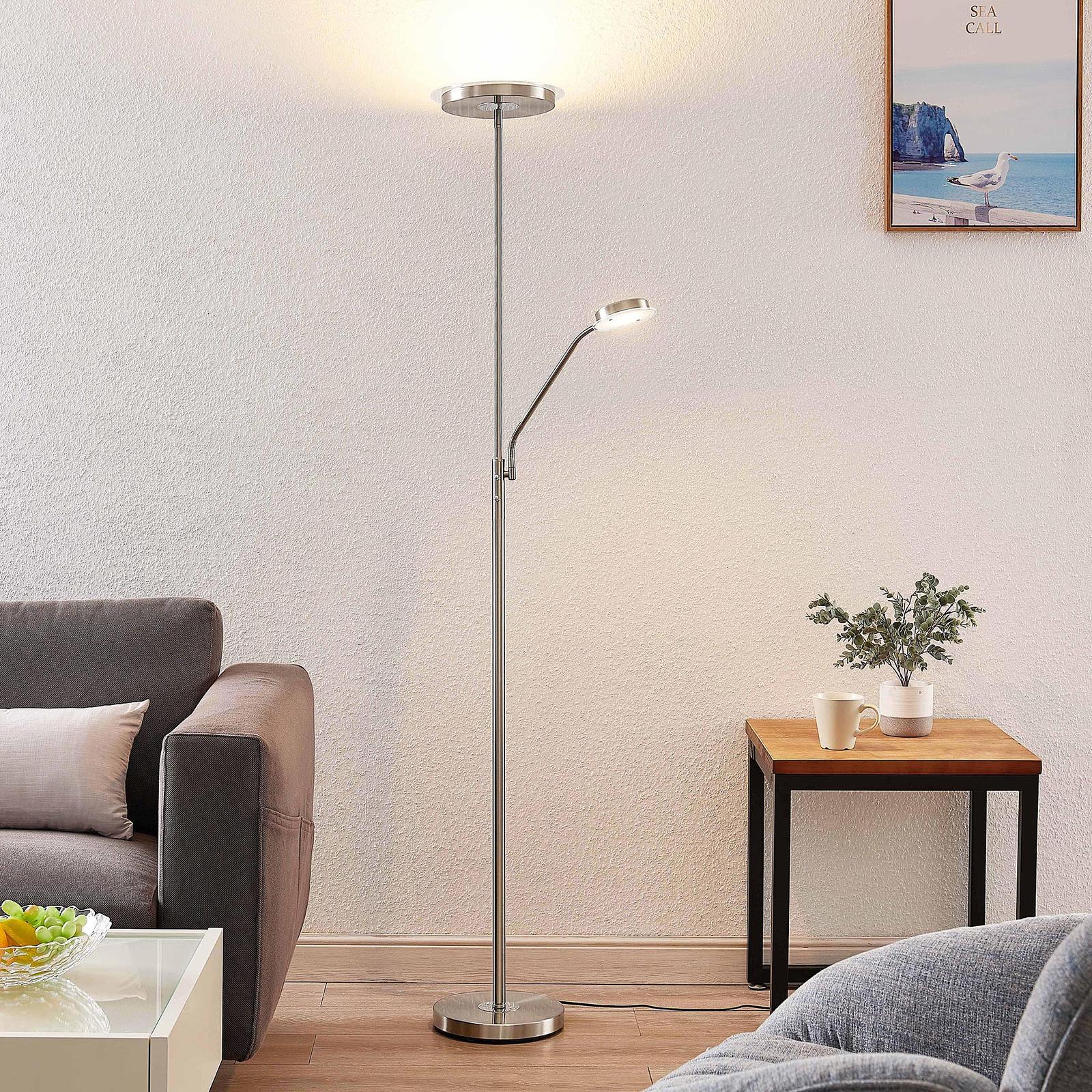 Lindby Sumani lampa stojąca LED, okrągła, nikiel