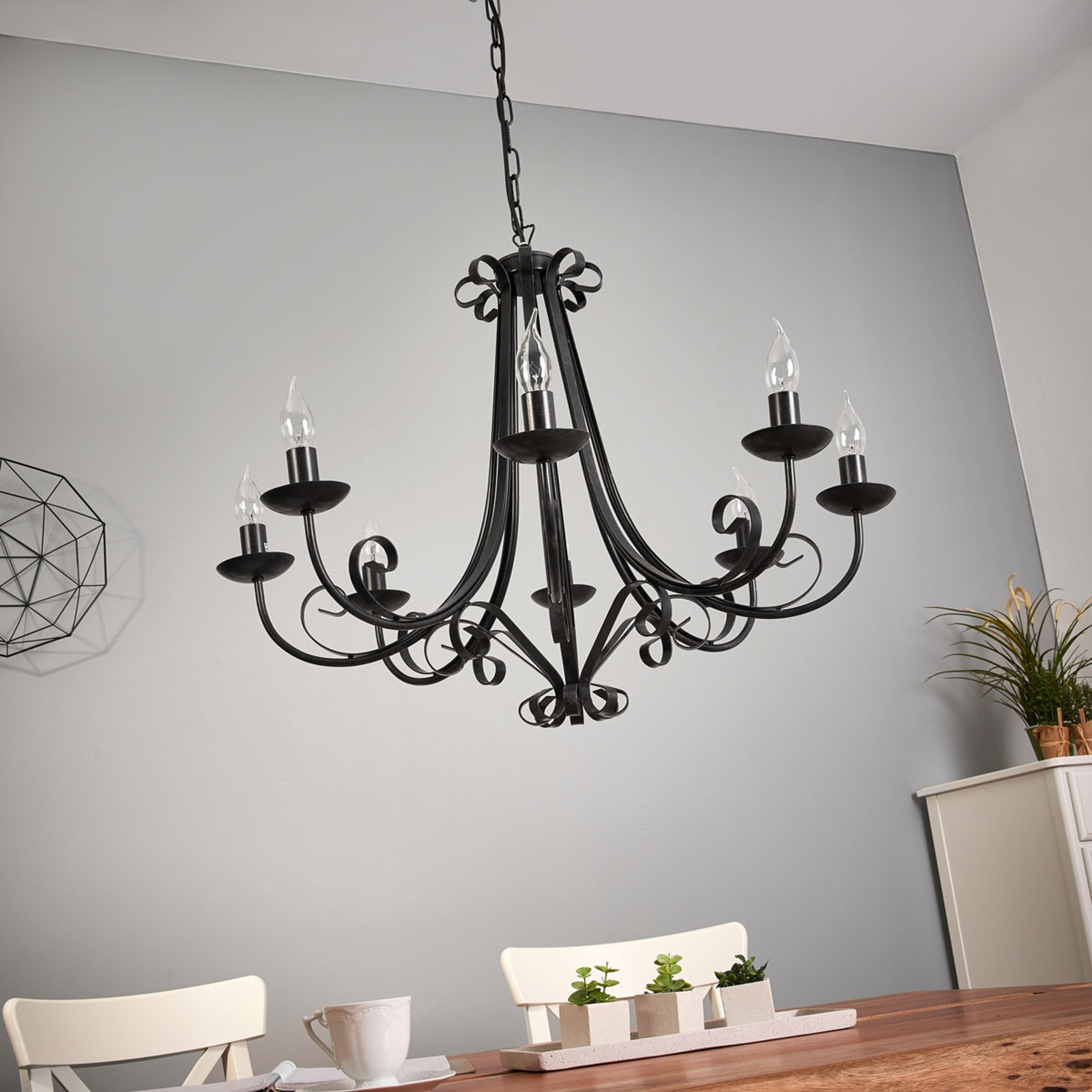 Lustre ROMA à 8 lampes de style rustique