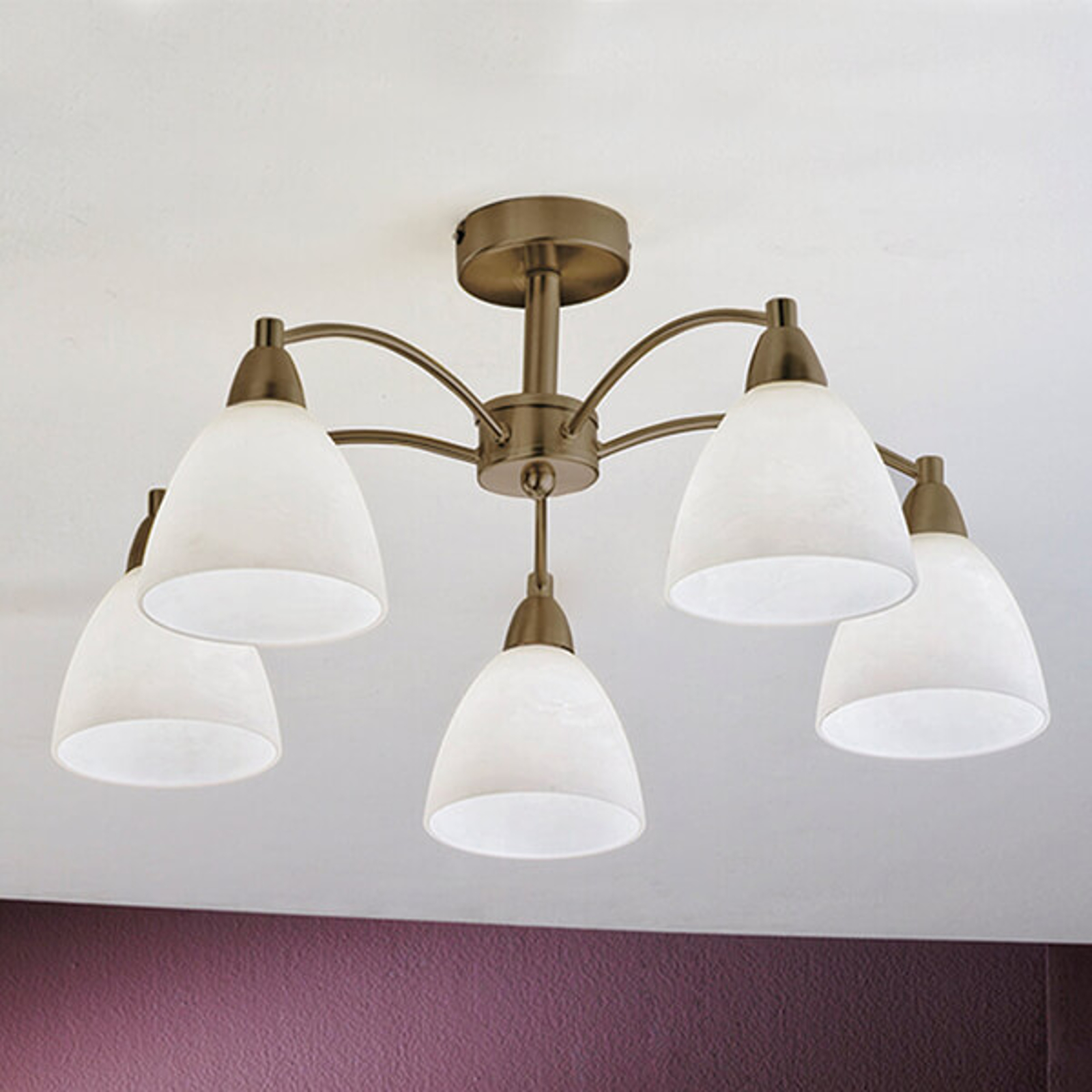 Plafondlamp Kinga in oude messing look, 5 lampen