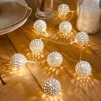 Cadena de 10 luces LED: esfera metálica en blanco