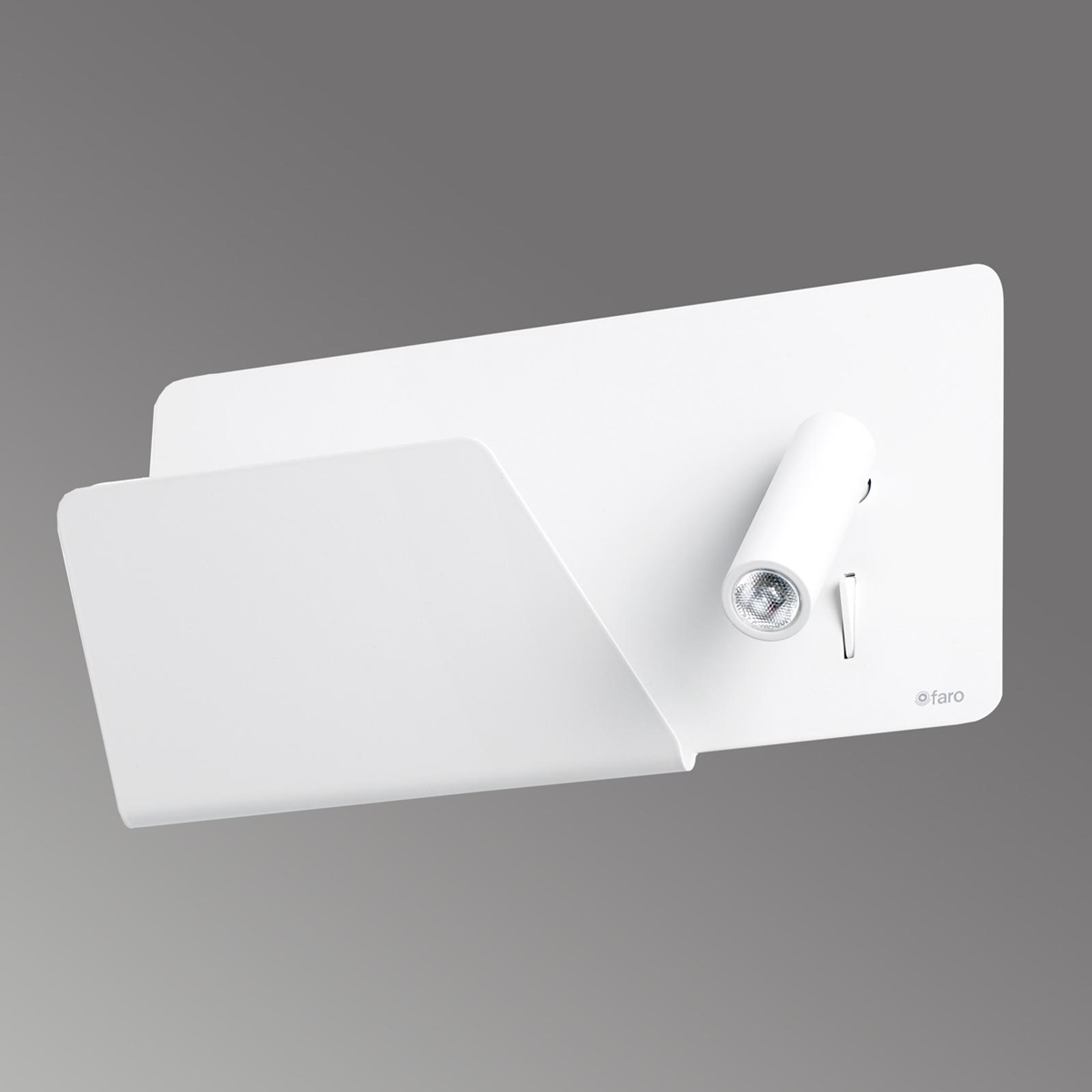 Suau - hvit LED-vegglampe med lagringsflate