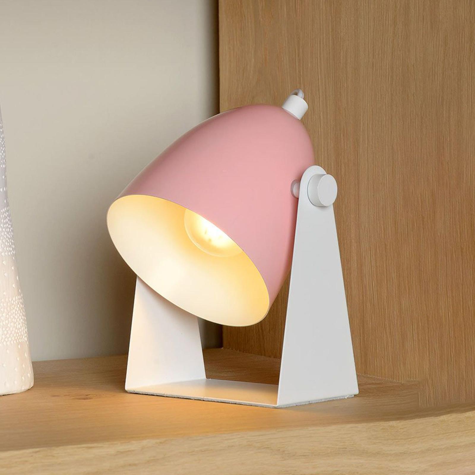 Bordslampa Chago i metall, rosa
