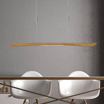Lucande Hiba LED-pendellampa ek natur 118 cm