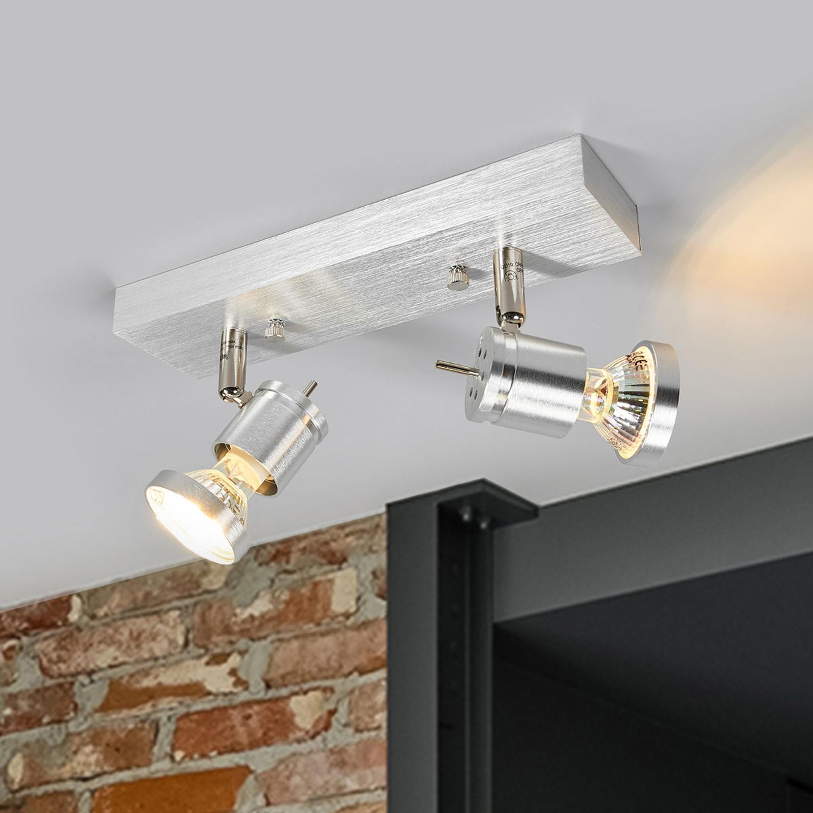 Lamp. soffitto Asto a 2 luci con anello decorativo