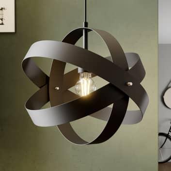 Svart LED-pendellampe Cara med tre ringer