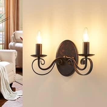 Caleb - lampada da parete a 2 luci color ruggine