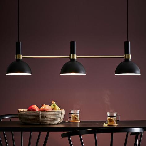 Hængelampe Larry med tre lyskilder, sort-messing
