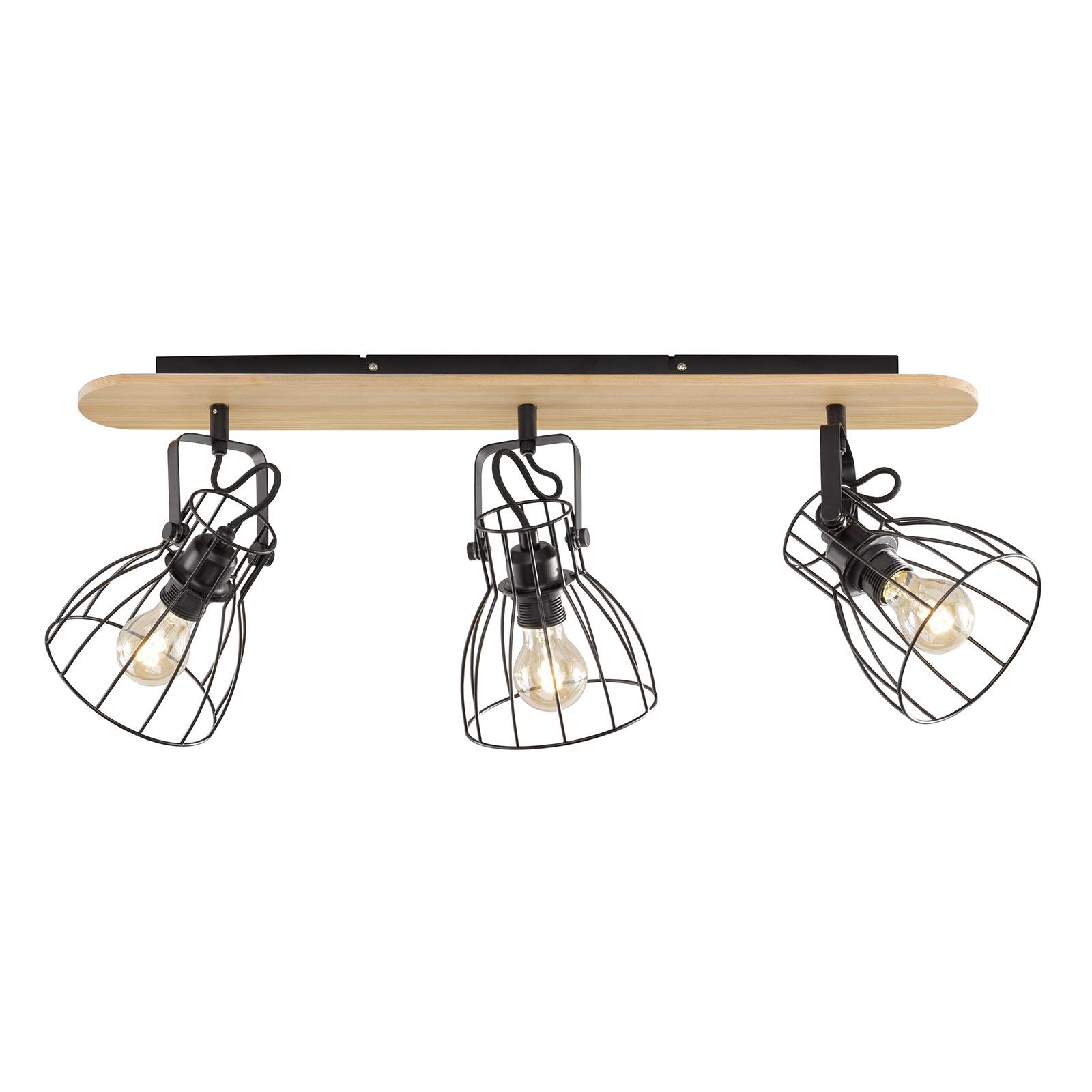 Deckenlampe Die in Holzoptik mit 3 Käfigschirmen