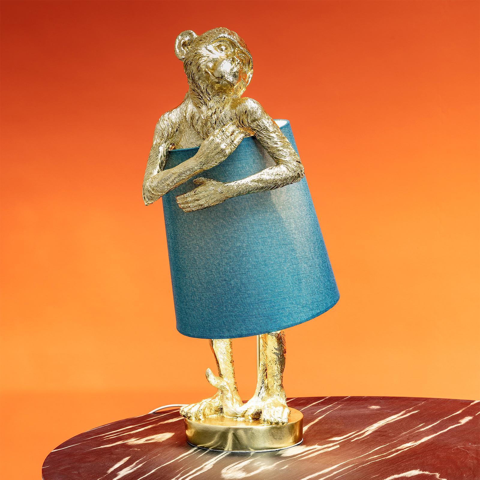 KARE Animal Monkey bordslampa guld/blå