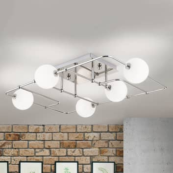 LED stropní světlo Pipes 5 skleněných koulí, nikl