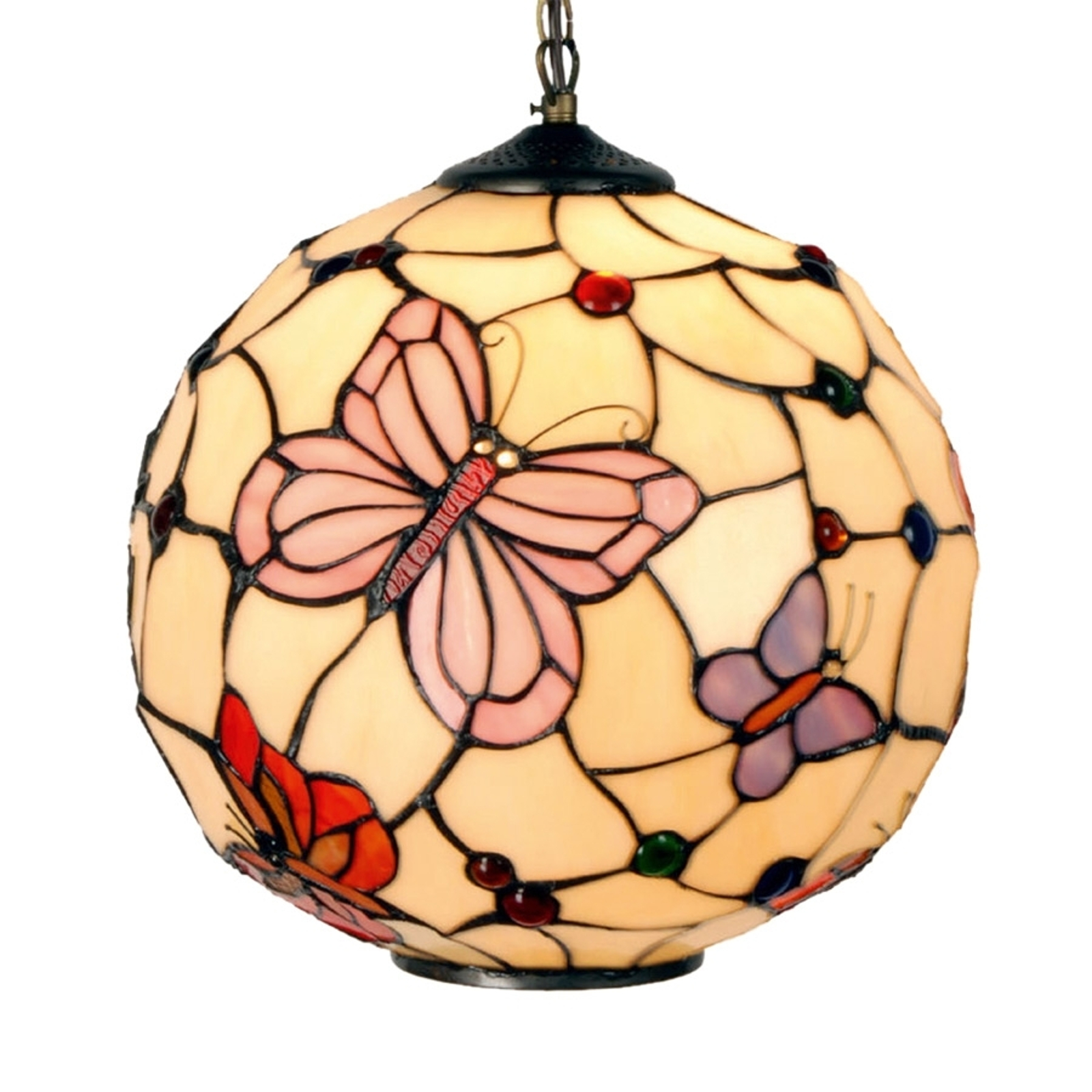 Suspension Rosy Butterfly au style Tiffany