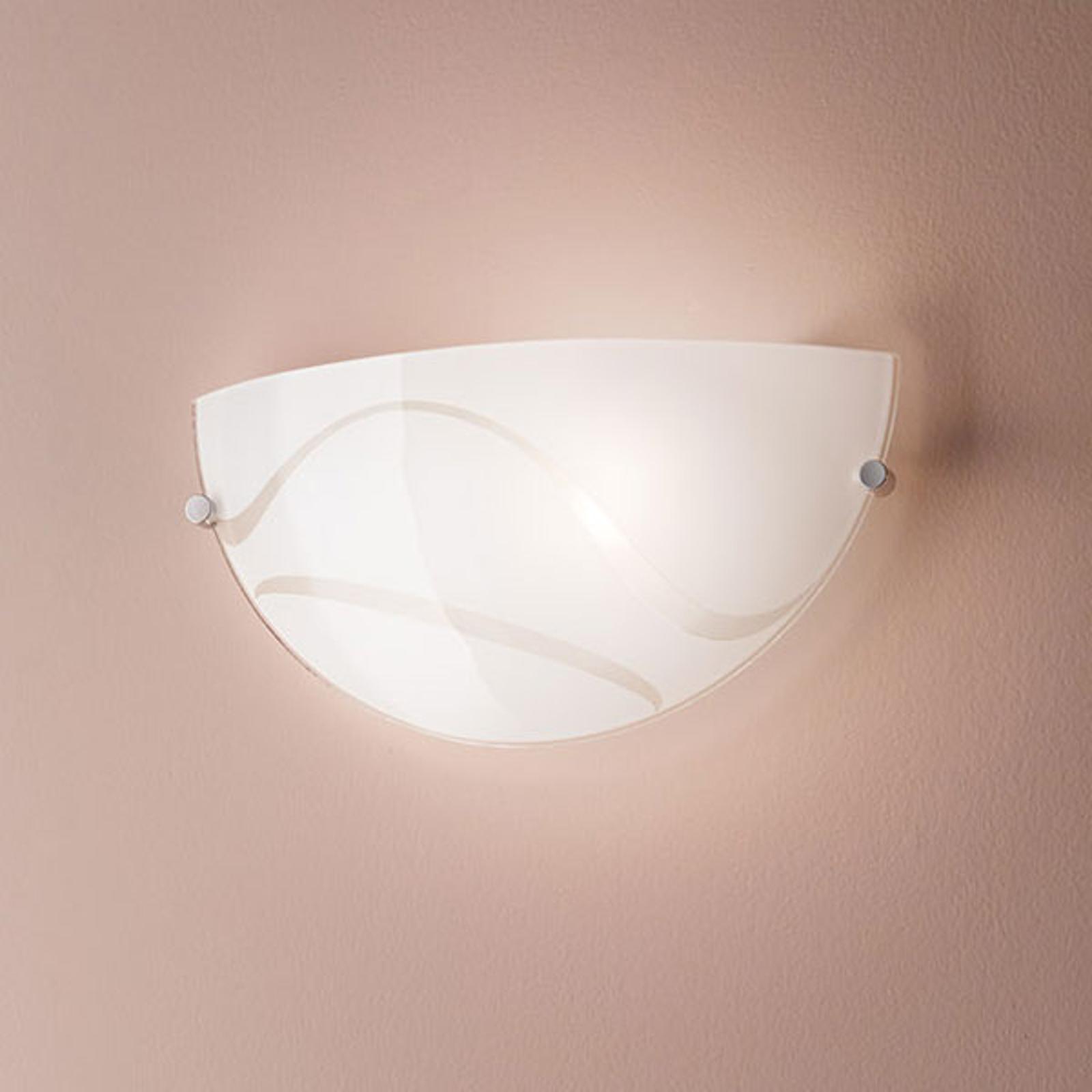 Vegglampe Magma, hvit, av glass