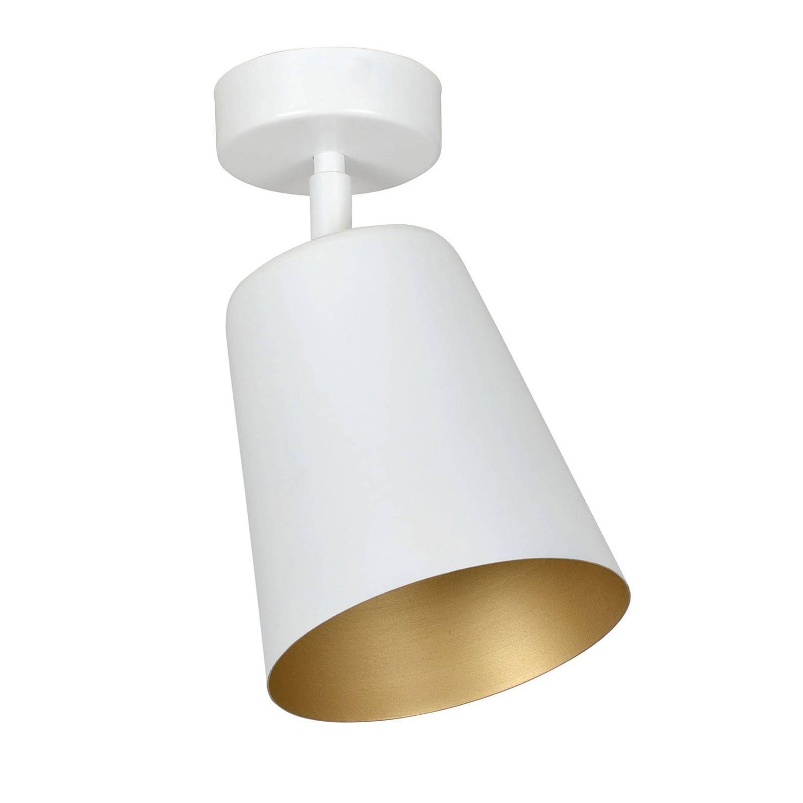 Deckenspot Prism aus Stahl, einflammig, weiß/gold