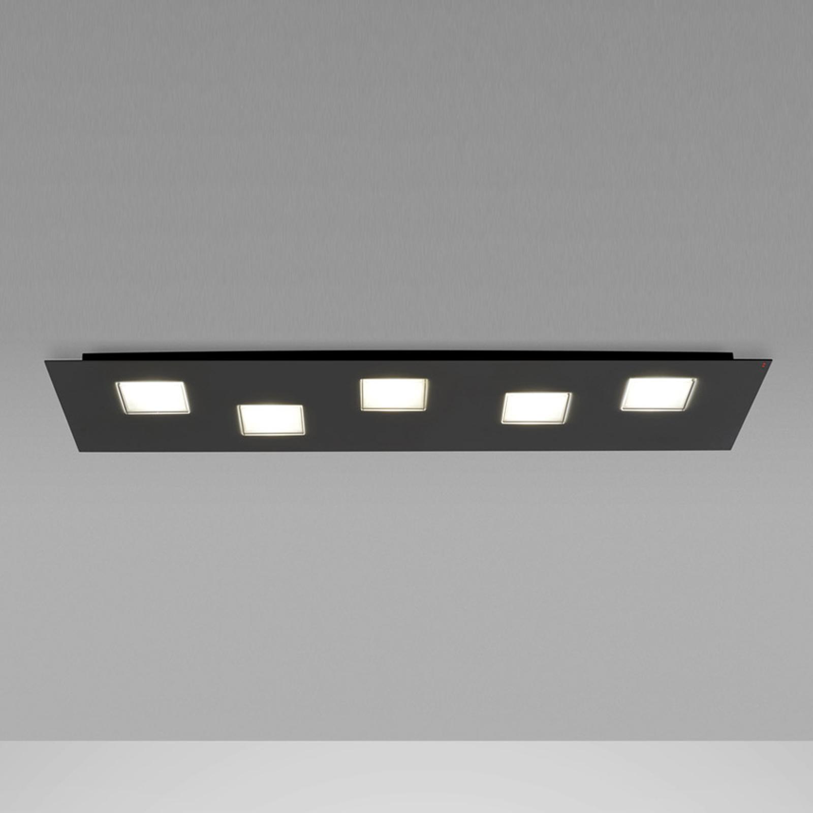 Plafonnier LED Quarter de 70cm de long, noir