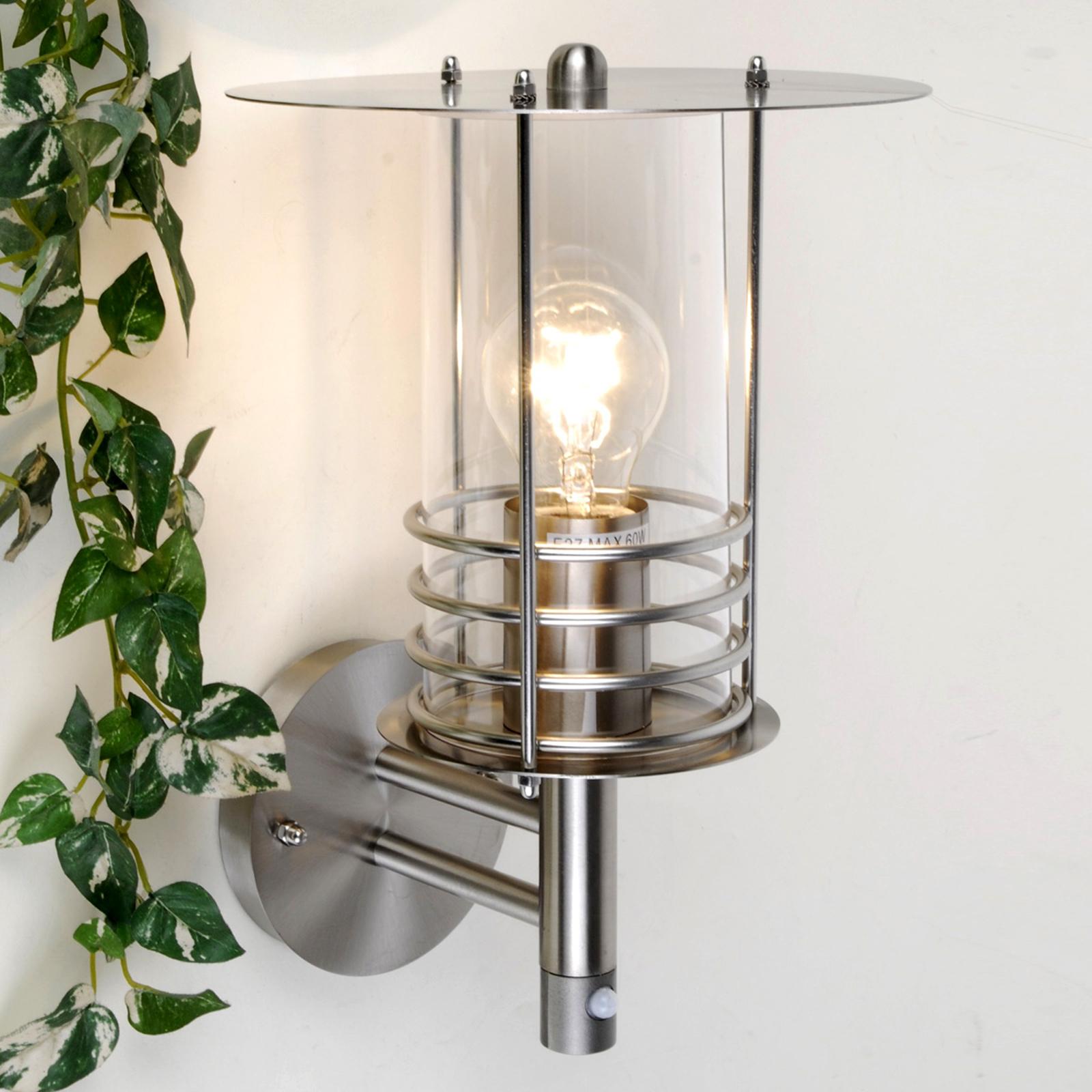Außenwandlampe Miko, Edelstahl mit Bewegungssensor