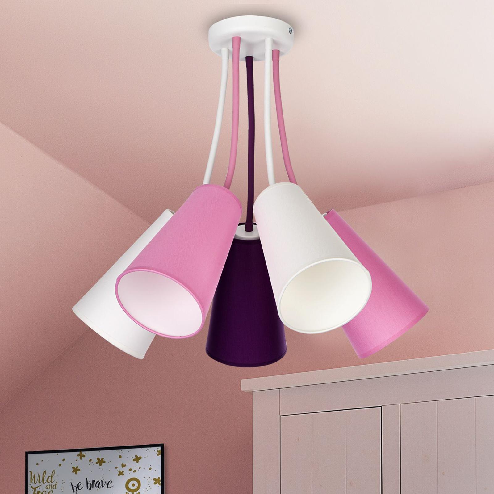 Deckenlampe Wire Kids 5-flammig, weiß/pink/violett
