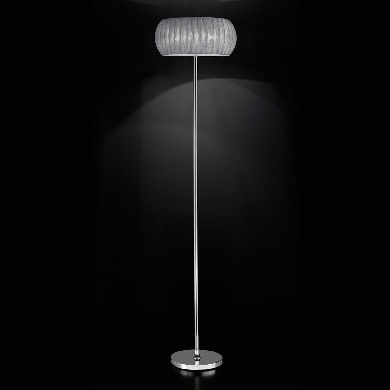 Tekstylna lampa stojąca Amaru, srebrnoszary klosz