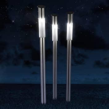 Solarlampa m. spett Fania i rostfritt stål, 3-pack