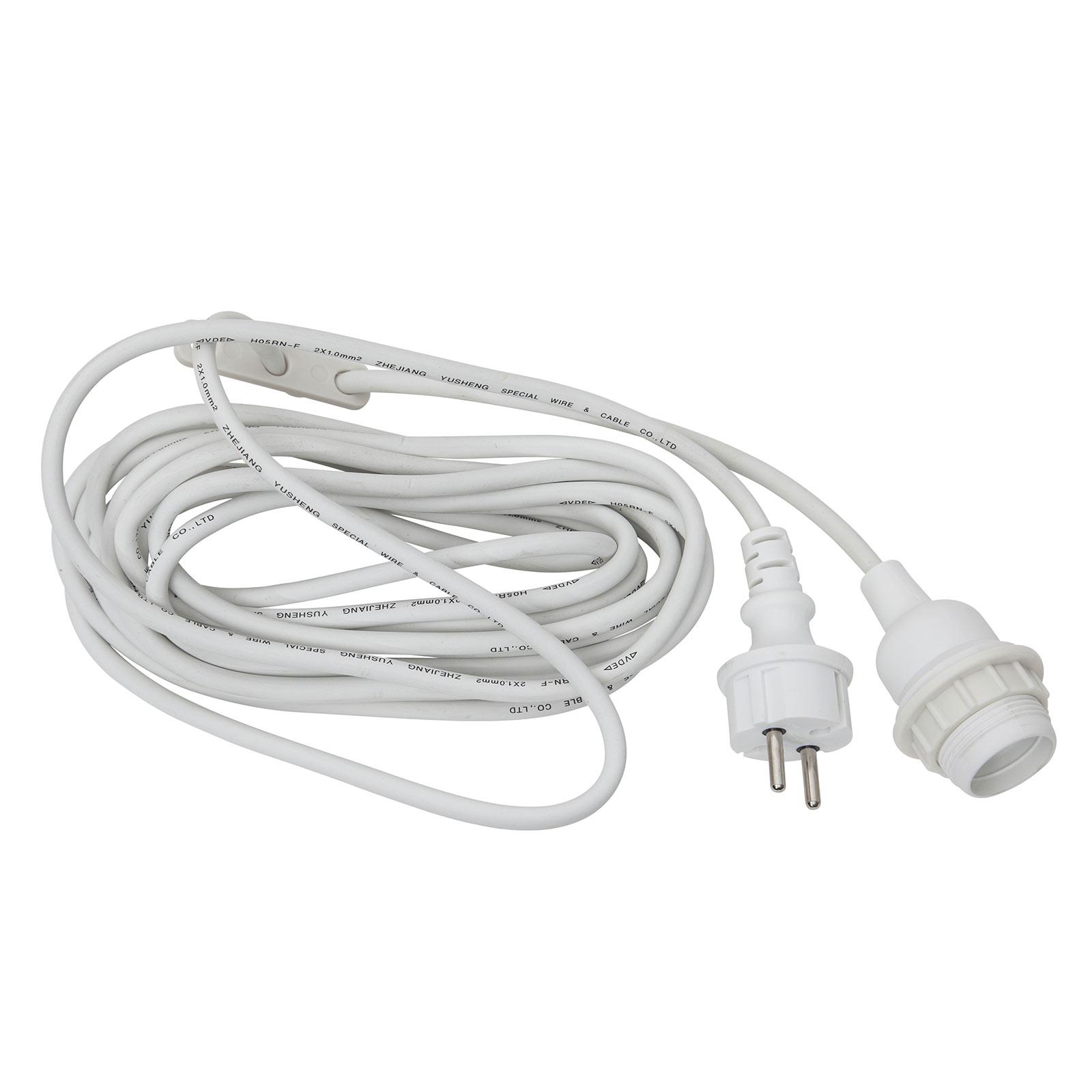 E27-fatning med kabel Ute, 5 m, hvit