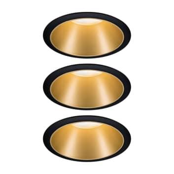 Paulmann Cole LED-spot i gyldent look, sæt med 3