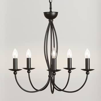 Raffinato lampadario nero Rocco, 5 punti luce