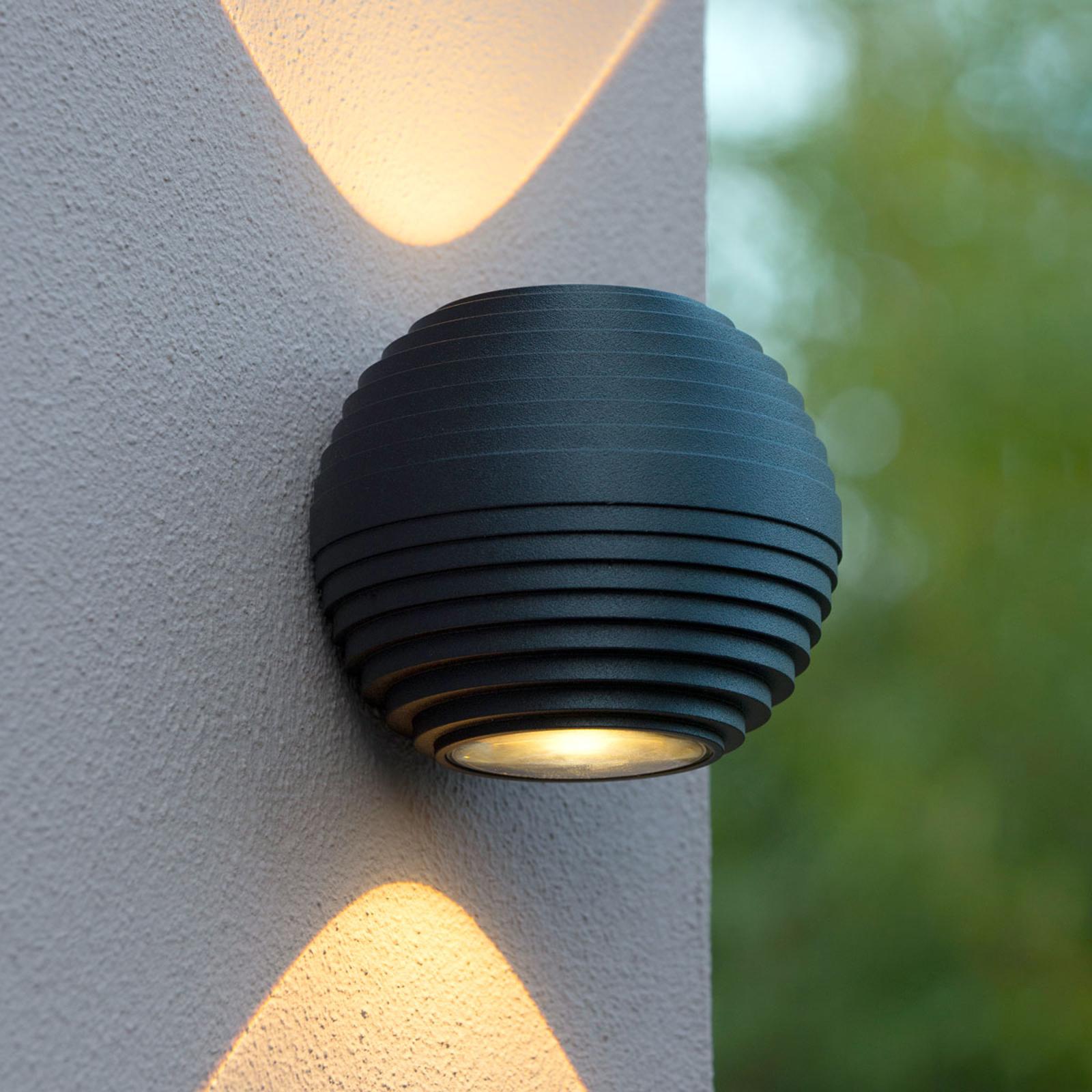 Runde LED-Außenwandleuchte Ayo, 2-flammig