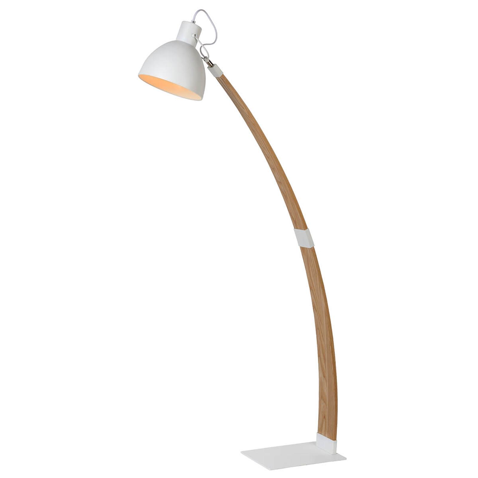 Flotte Stehleuchte Curf mit weißem Lampenschirm