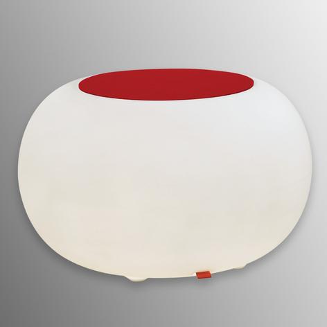Bijzettafel BUBBLE, wit licht met rood vilt