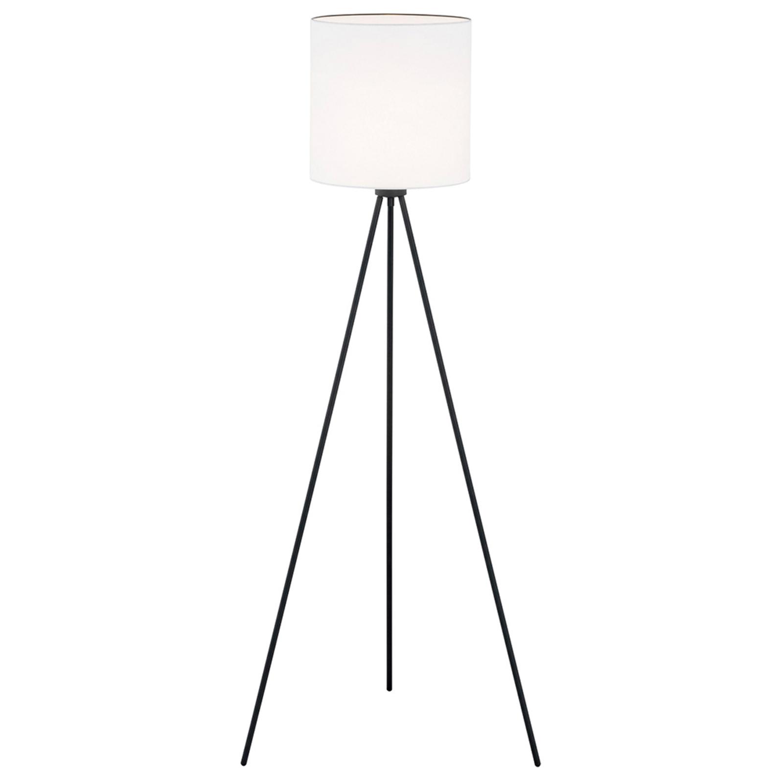 Tekstil-gulvlampe Harris, trebein svart/hvit