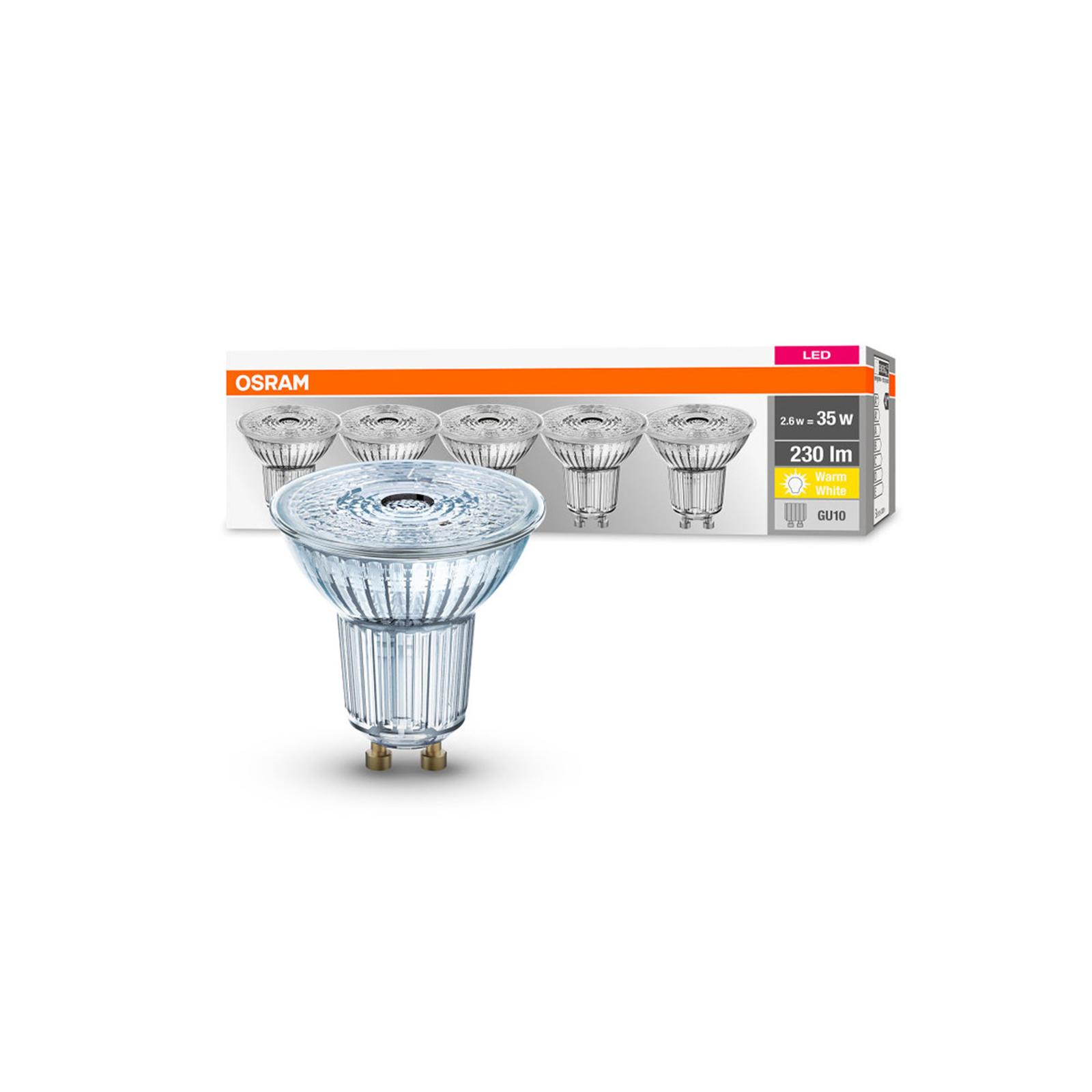 OSRAM LED-Reflektor GU10 2,6W 2.700K 230lm 36° 5er