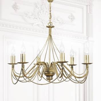 Lámpara de araña Tori 6, 6 luces, dorada