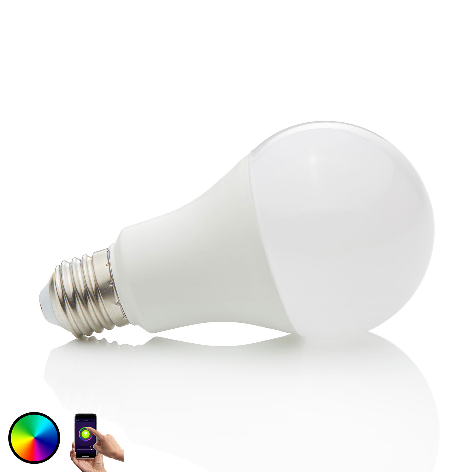 Lindby Smart LED-Lampe Wifi E27 10 W, 2.700 K, RGB