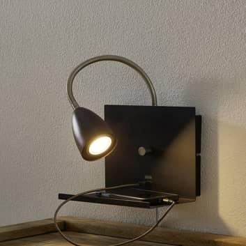 Vägglampa Logi med avlastningsyta och USB-port