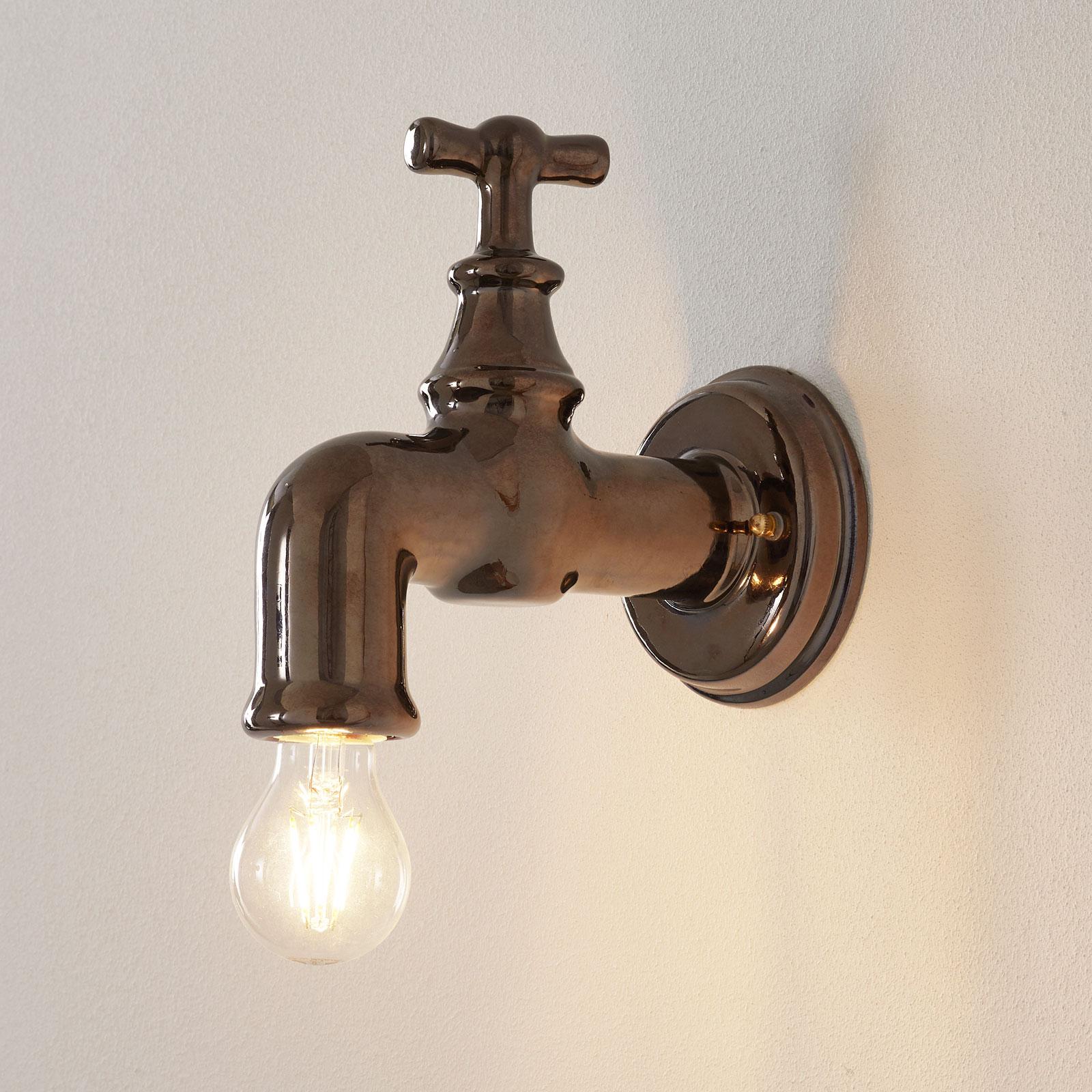 Wandlamp Rubinetto van keramiek, zilver glanzend