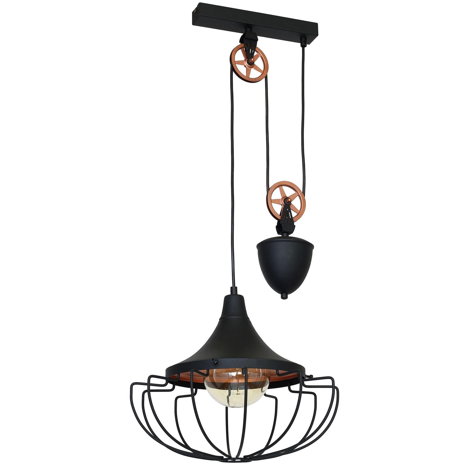 Lampa wisząca 902, regulowana, czarna/miedziana
