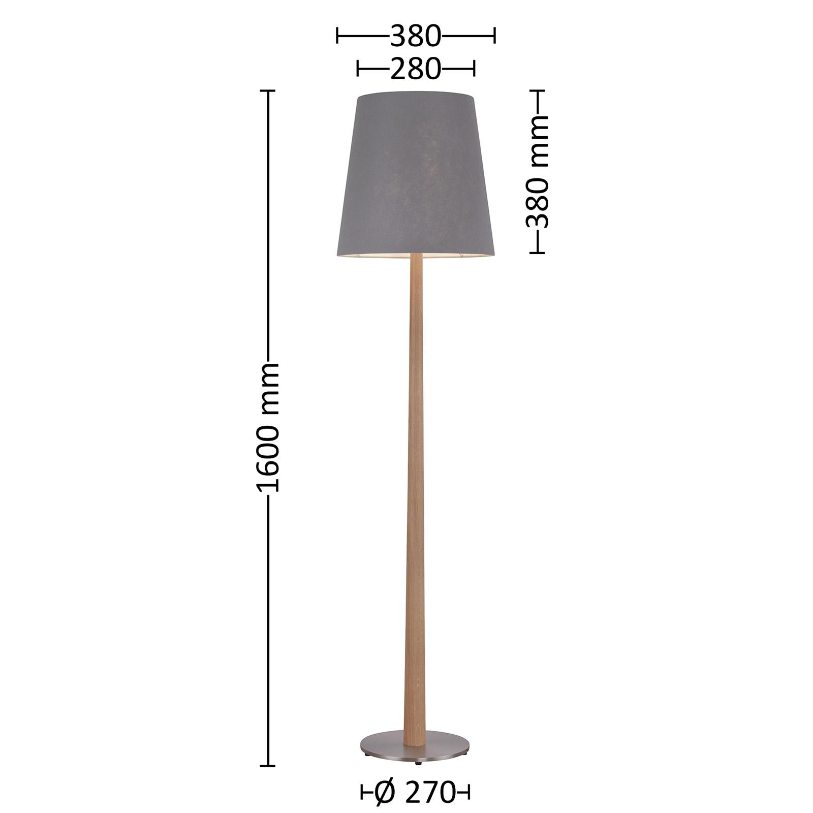 Lucande Elif Stehlampe Filz, konisch Eiche natur