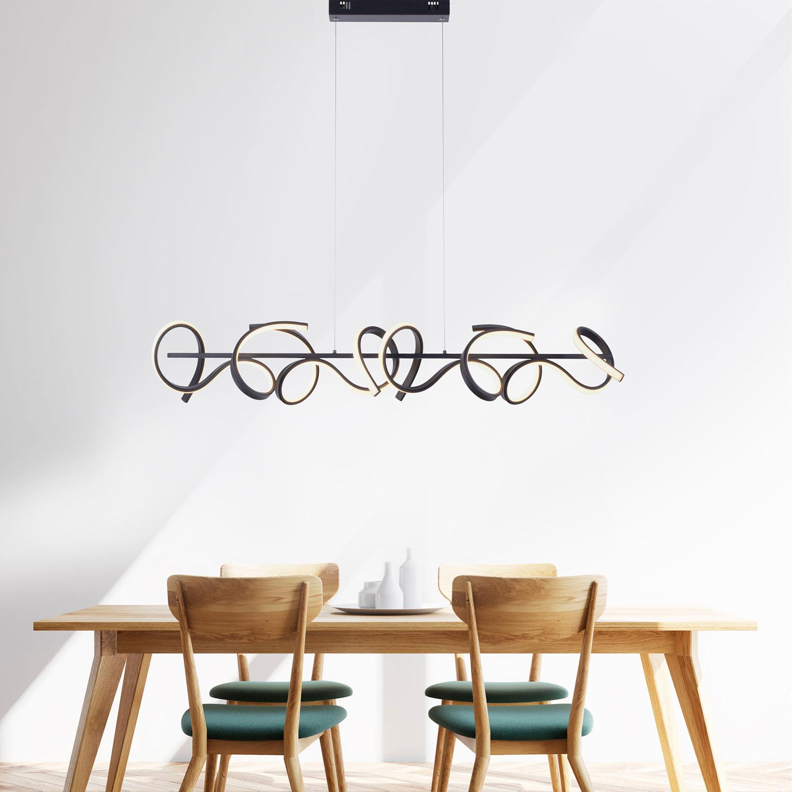Curls LED-hængelampe, sort, dæmpbar