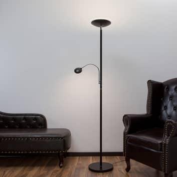 Stojací lampa Malea s LED + čtecí rameno, černá