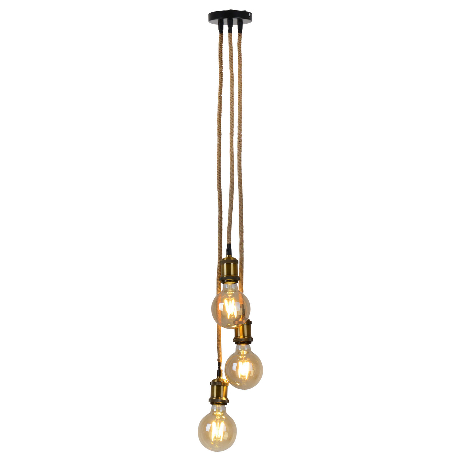 Ontario hængelampe, hampetov, 3 lyskilder