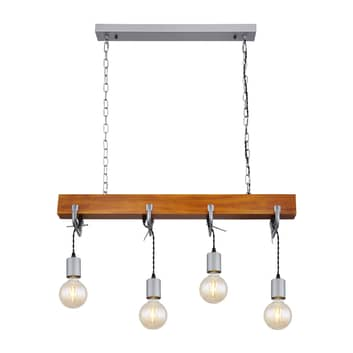 Lindby Asya hanglamp, 4-lamps, hout, chroom
