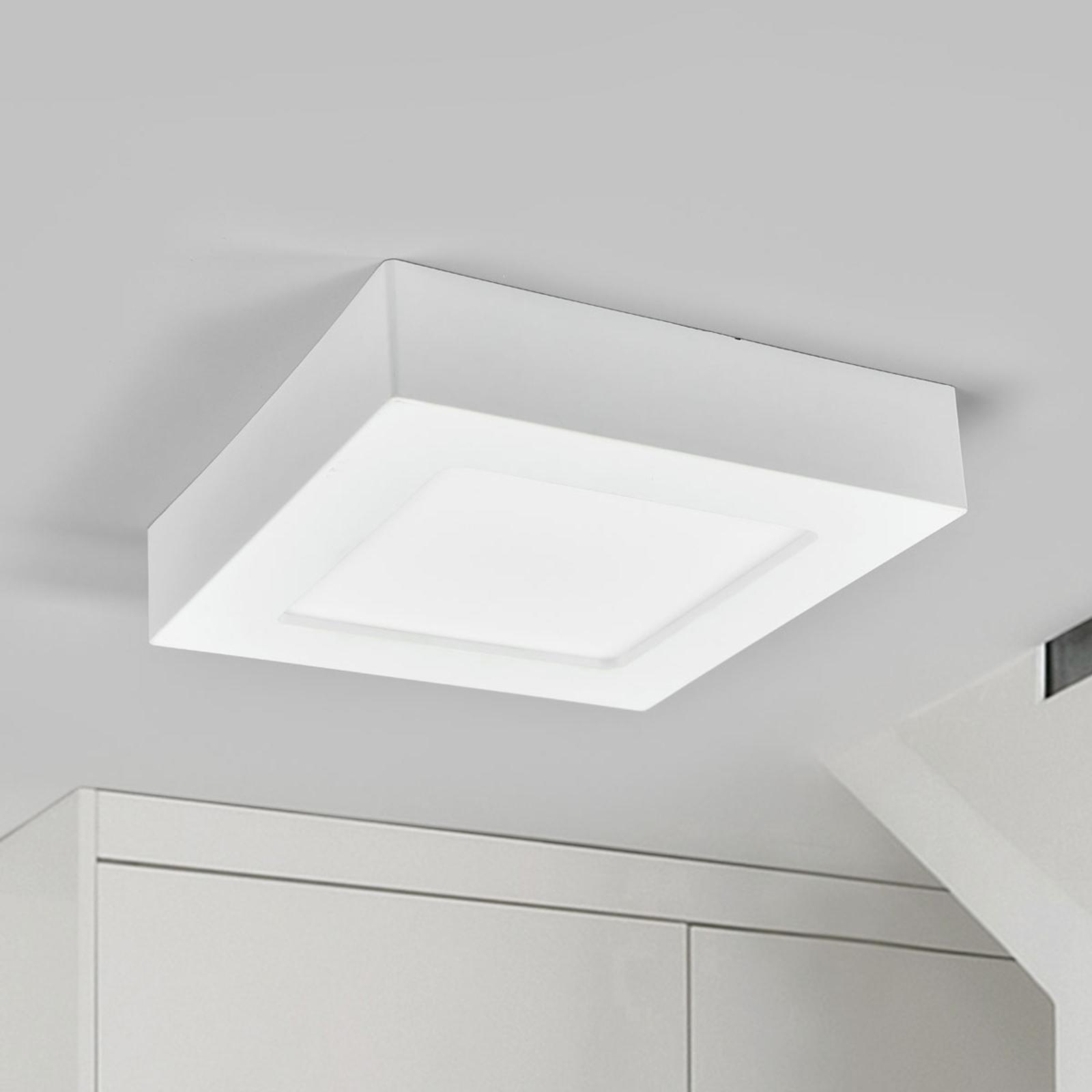 LED-taklampe Marlo, hvit, 4000K kantet 18,1cm