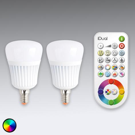 iDual E14 LED-pære, 2'er sæt, fjernbetjening