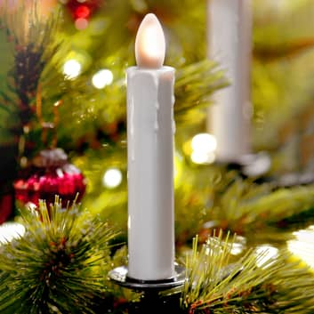 Vela de árbol LED Shine, marfil, sin cables, set 5