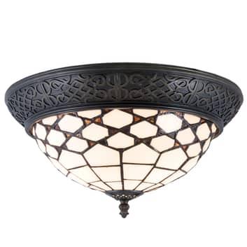 Plafondlamp Kisa, Tiffany-stijl, direct