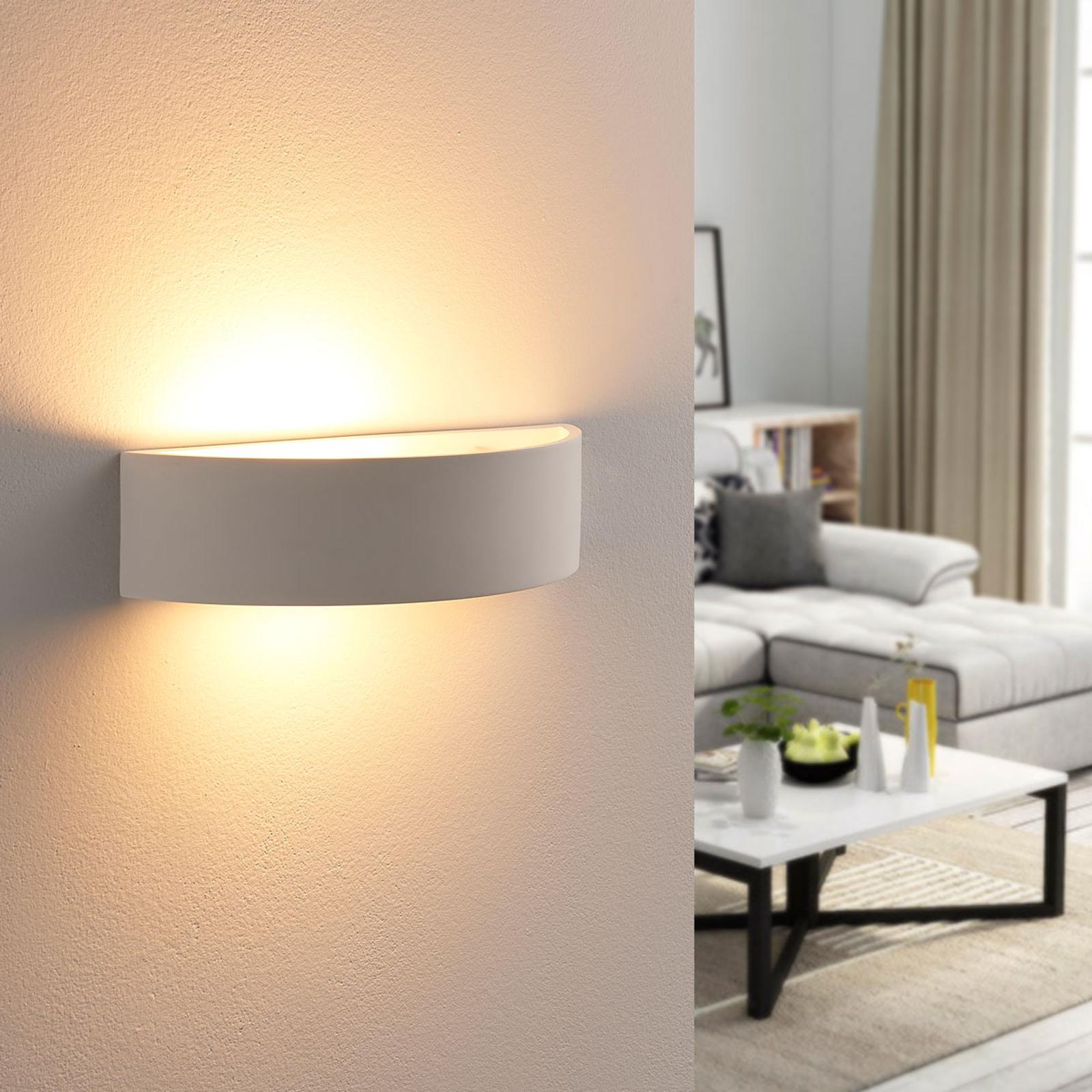 Halvrund gipsvägglampa Aurel, Easydim-LED-lampa