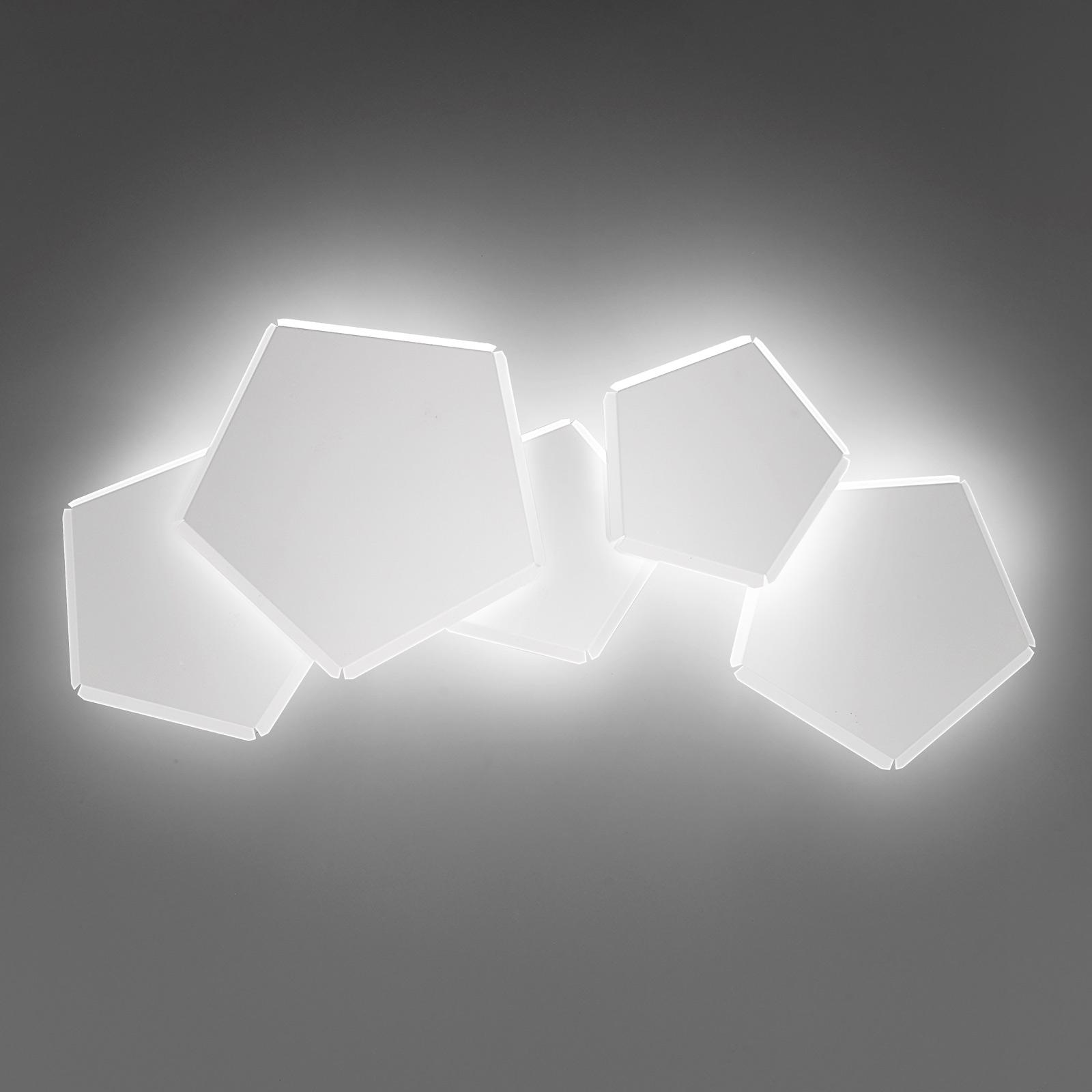 Applique LED Pleiadi en blanc, à 5 lampes