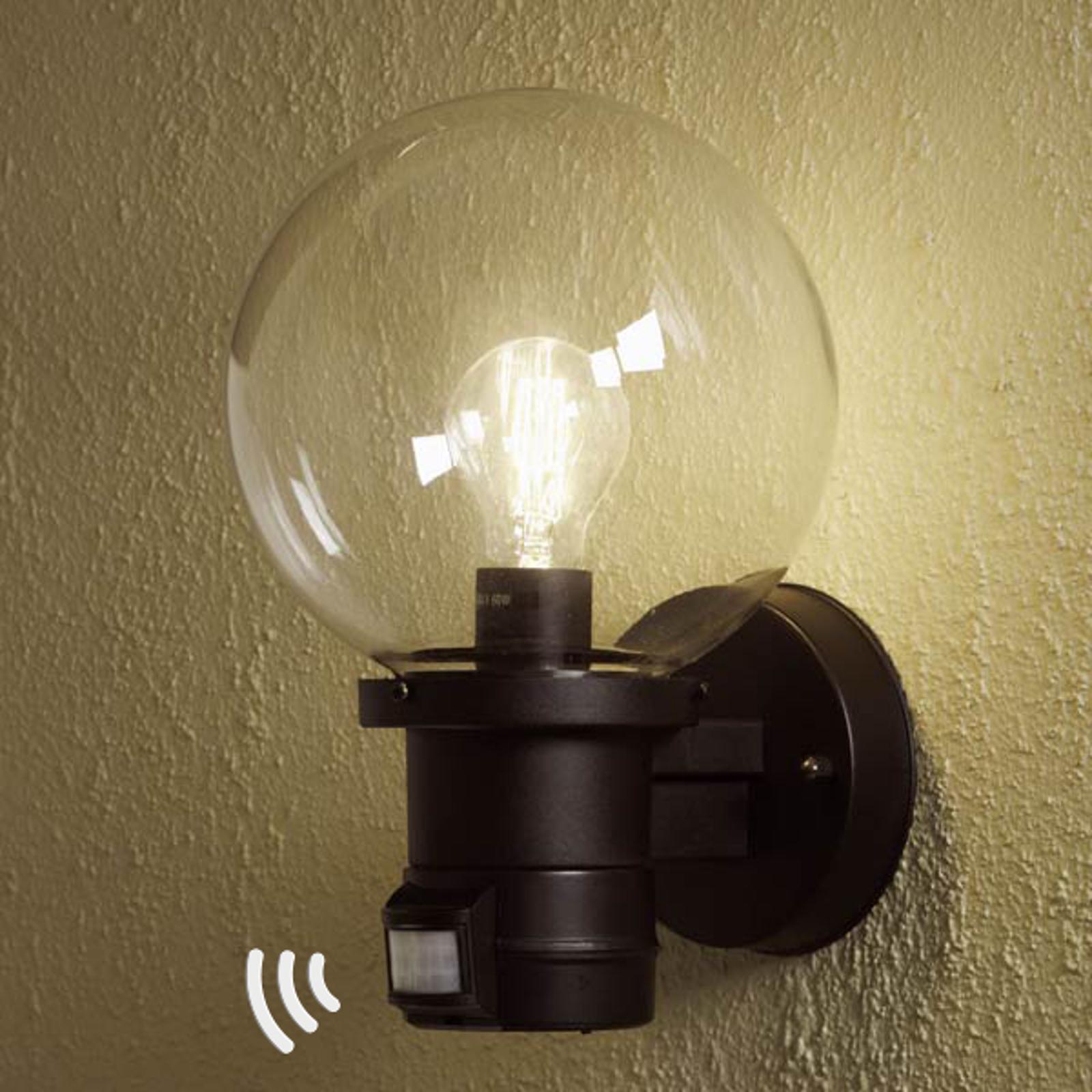 Buitenwandlamp Nemi met bewegingsmelder, zwart