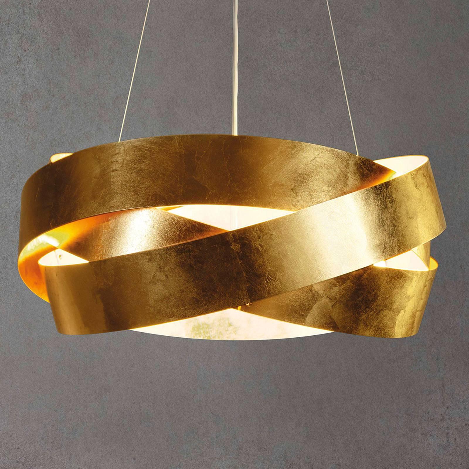LED-Hängeleuchte Pura mit Blattgold 60 cm